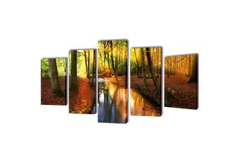 Canvas Wall Print Set Forest 100 x 50 cm