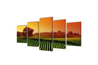 Canvas Wall Print Set Fields 100 x 50 cm
