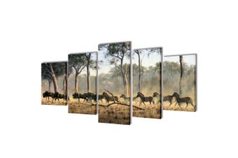Canvas Wall Print Set Zebras 200 x 100 cm