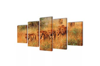 Canvas Wall Print Set Lions 100 x 50 cm