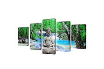 Canvas Wall Print Set Buddha 100 x 50 cm
