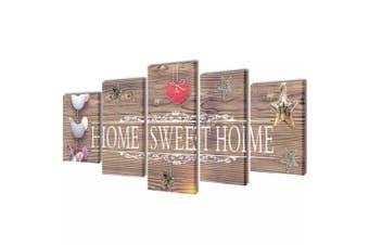 Canvas Wall Print Set Home Sweet Home Design 100 x 50 cm