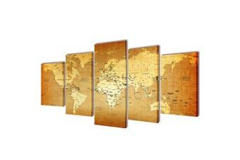 Canvas Wall Print Set World Map 100 x 50 cm