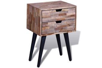 Nightstand with 2 Drawers Reclaimed Teak Wood