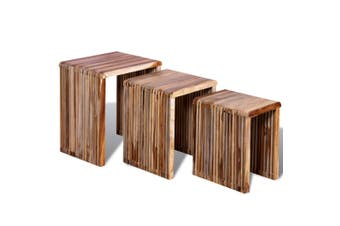 Nesting Table Set 3 Pieces Reclaimed Teak