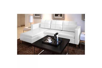 Sectional Sofa 3-Seater Artificial Leather White