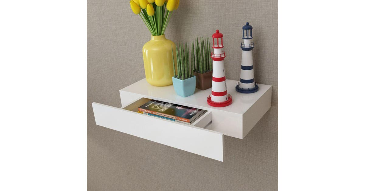 vidaxl vidaxl white mdf floating wall display shelf 1 drawer bookdvd storage
