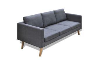 Sofa 3-Seater Fabric Dark Grey