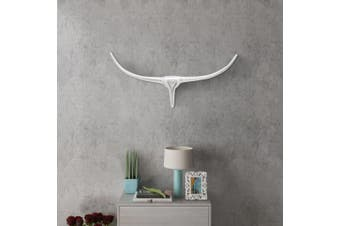 Wall Mounted Aluminium Bull's Head Decoration Silver 72 cm