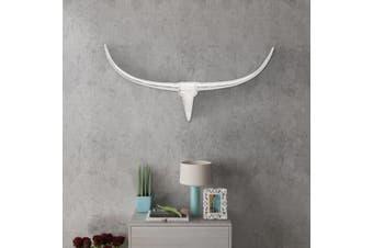 Wall Mounted Aluminium Bull's Head Decoration Silver 96 cm