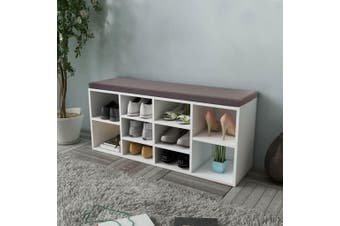 Shoe Storage Bench 10 Compartments White