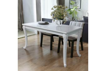 Dining Table 116x66x76 cm High Gloss White