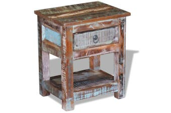 Side Table with 1 Drawer Solid Reclaimed Wood 43x33x51 cm