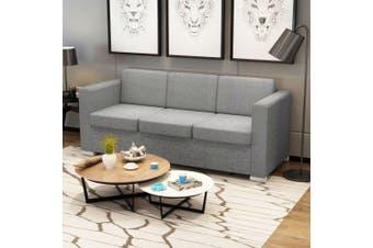 3-Seater Sofa Fabric Light Grey