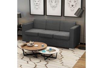3-Seater Sofa Fabric Dark Grey