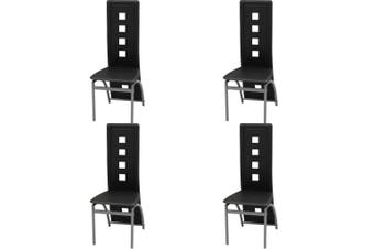 Dining Chairs 4 pcs Black Faux Leather