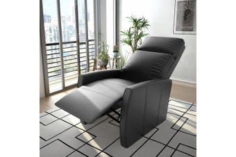 TV Recliner Chair Black Faux Leather
