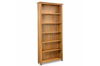 6-Tier Bookcase 80x22,5x180 cm Solid Oak Wood