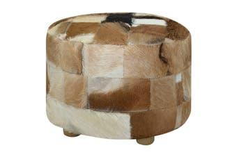 Pouffe Genuine Leather Round 50x50x45 cm