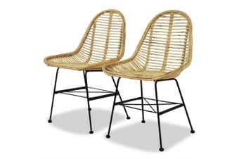 Dining Chairs 2 pcs Natural Rattan