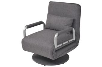 Swivel Chair and Sofa Bed Dark Grey Fabric