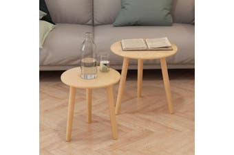 Side Table Set 2 Pieces Solid Pinewood Brown