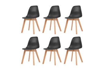 Dining Chairs 6 pcs Black Plastic