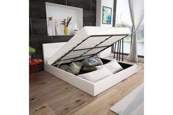 Bed Frame White Faux Leather Queen Size