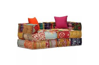 2-Seater Modular Sofa Bed Fabric Patchwork