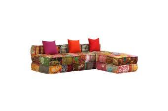 3-Seater Modular Sofa Bed Fabric Patchwork