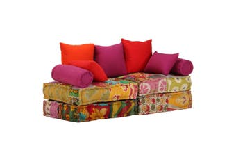 2-Seater Modular Sofa Bed Fabric Patchwork