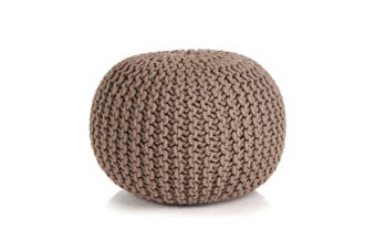 Hand-Knitted Pouffe Cotton 50x35 cm Brown