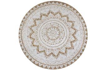 Area Rug Braided Jute Printed 90 cm Round