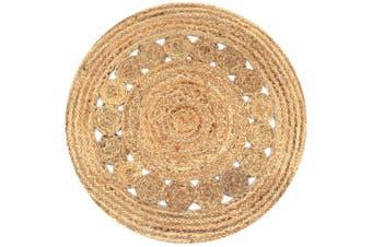 Area Rug Braided Design Jute 90 cm Round