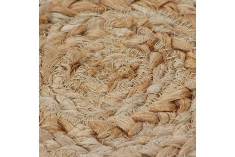 Area Rug Braided Design Jute 120 cm Round
