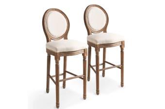 Bar Chairs 2 pcs White Linen