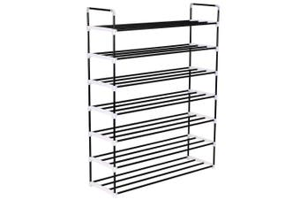 Shoe Rack with 7 Shelves Metal and Plastic Black