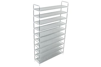 Shoe Rack with 10 Shelves Metal and Non-woven Fabric Silver