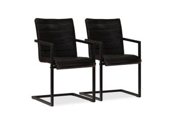 Dining Chairs 2 pcs Anthracite Real Leather