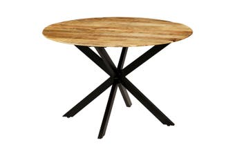 Dining Table Solid Rough Mango Wood and Steel 120x77 cm