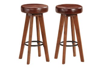 Bar Chairs 2 pcs Real Leather and Solid Acacia Wood