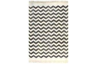 Kilim Rug Cotton 120x180 cm with Pattern Black/White
