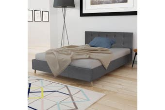 Bed Frame Dark Grey Fabric Double Size