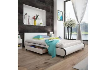 Bed Frame White Faux leather Double Size