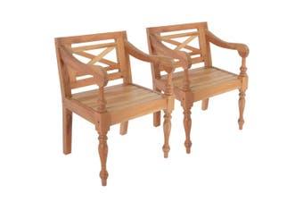 Batavia Chairs 2 pcs Light Brown Solid Mahogany Wood
