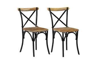 Cross Chairs 2 pcs Black Solid Mango Wood