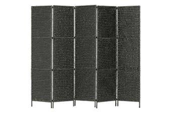 5-Panel Room Divider Black 193x160 cm Water Hyacinth