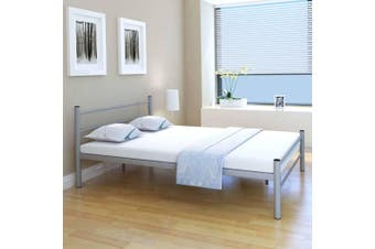 Bed Frame Grey Metal Double Size