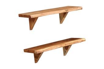 Wall Shelves 2 pcs 60x20x16 cm Solid Acacia Wood