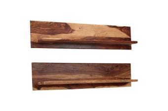 Wall Shelves 2 pcs 118x26x20 cm Solid Sheesham Wood